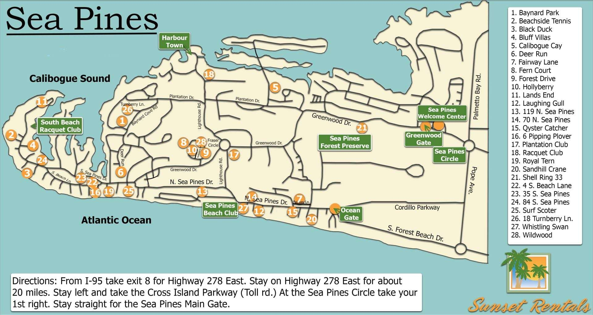 Sea Pines Resort Complex Map